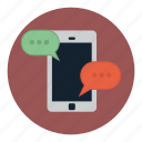 bubble, cell, conversation, mobile, speech, telephone icon