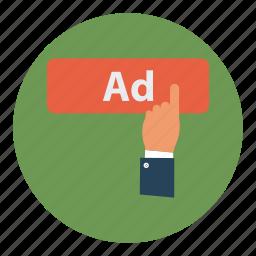 ad, click, finger, tap icon