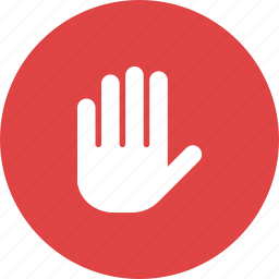 fingers, five, glove, hand, stop, touch icon