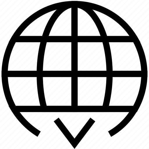 earth, global, globe, globe with down sign, world icon