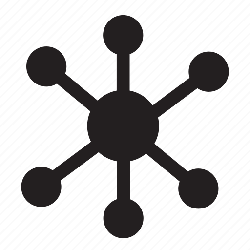 circle, computers, lines, network, sharing, technology icon