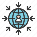 arrow, communication, global, globe, human, network icon