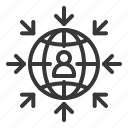 arrow, communication, globe, network icon
