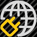 commenunation icon, earth, globe, plug, power, world icon
