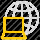 global, globe, internet, laptop, network icon icon