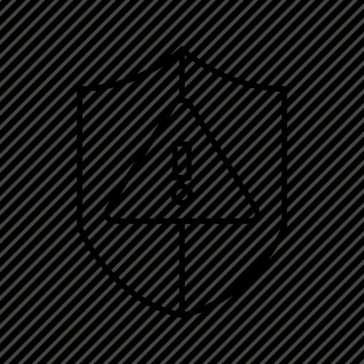 caution, error, protect, shield, warning icon