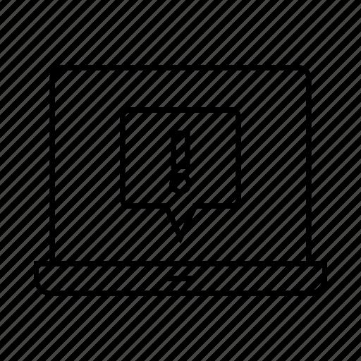 caution, computer, error, laptop, warning icon