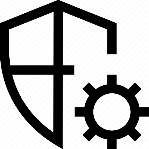 cog wheel, firewall, gear, internet, security, settings, shield icon