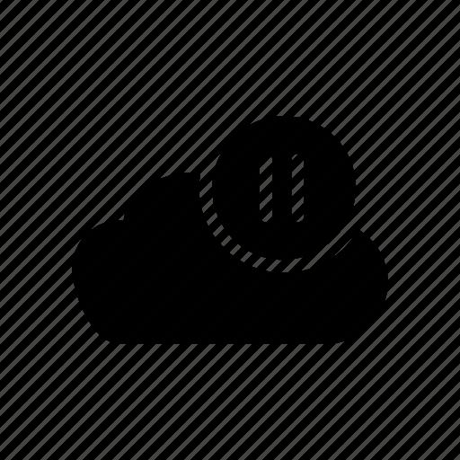 cloud, database, pause, server, storage icon
