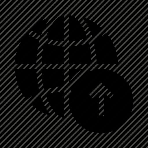 arrow, earth, globe, upload, world icon