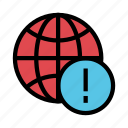 error, exclamation, global, warning, world icon
