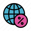 browser, earth, global, percentage, world icon