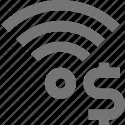 dollar, money, signal, wifi icon