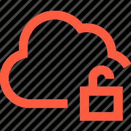 cloud, network, open, padlock, pass, password, unlock icon
