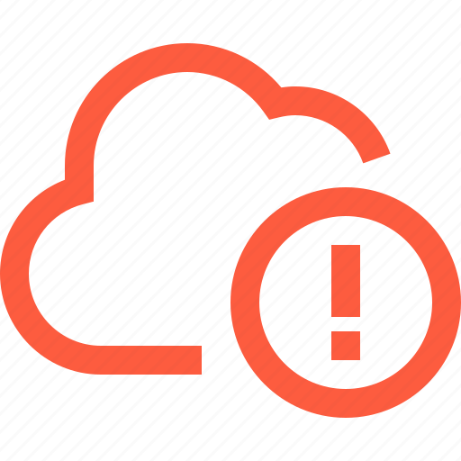 alert, attention, cloud, network, notification, technology, warning icon