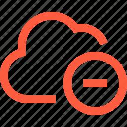 cloud, data, decrease, delete, network, remove, unit icon