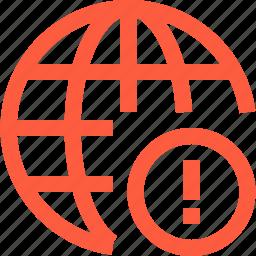 alert, connection, global, globe, internet, network, notification, warning, www icon