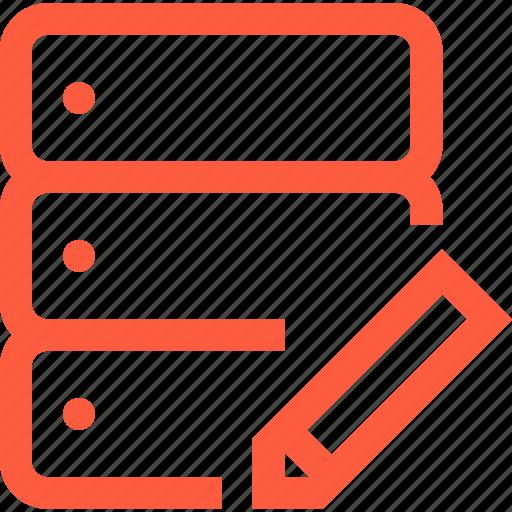 change, database, edit, network, rack, server, technology icon