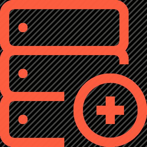 add, create, database, increase, network, new, server, storage icon