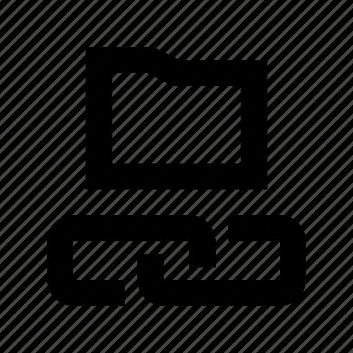 connected folder, folder sharing, hyperlink, linked folder, server folder icon