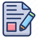 agreement, content, contract, document, paper document, sketching, writing paper icon