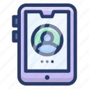 cell, cellular phone, mobile account, phone, smartphone profile icon