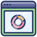 circle chart, doughnut chart, online web data, statistics, web data analytics icon