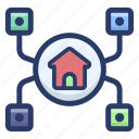 home connection, home network, home sharing, house network, smart home icon