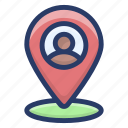 gps, location, navigation, person address, person location, search location icon
