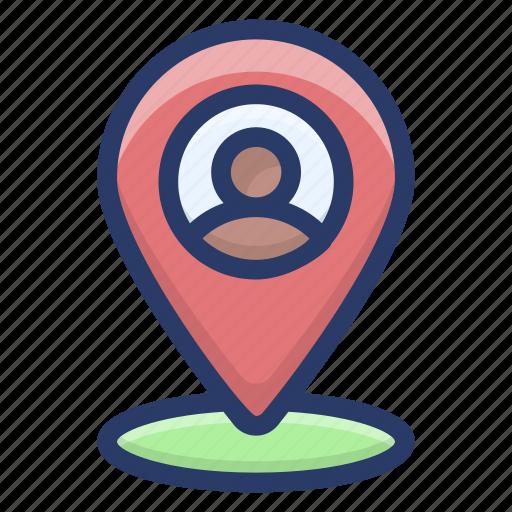 gps, location, navigation, person address, person location, search location icon