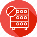 cancel, connection, databse, denied, hosting, rack, server icon