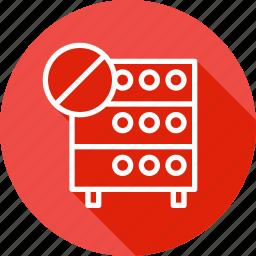 cancel, connection, databse, denied, hosting, rack, server icon
