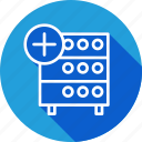 add, data, databse, hosting, rack, server, storage icon
