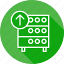 databse, hosting, rack, server, upload icon