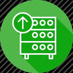 databse, hosting, rack, server, upload icon