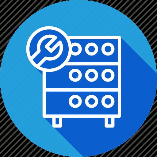 databse, hosting, optimization, rack, server, settings, wrench icon