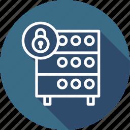 databse, hosting, rack, secure, security, server, unlock icon