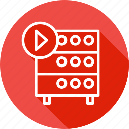 databse, hosting, media, play, rack, server, video icon