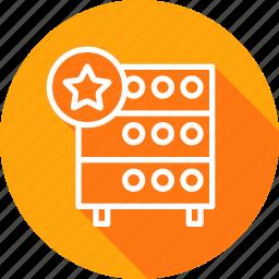 databse, favorite, hosting, like, rack, server, star icon