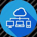 cloud, desktop, laptop, mobile, network, share, sharing
