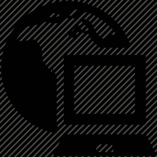 global, internet, laptop, lobe, network icon