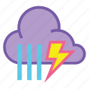 heavy rain, rain, shower, showers, storm, thunder, weather icon