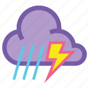 cloudy, lightning, rain, storm, thunder, thunderstorm, weather icon