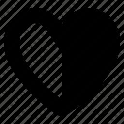 favorite, guardar, half, heart, like, love, save icon