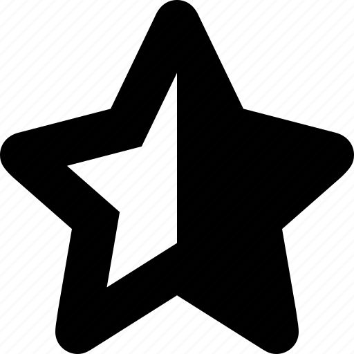 award, badge, bookmark, favorite, half, like, rate, star icon