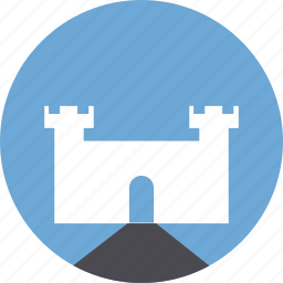 building, castle, fortress, road, tower icon