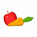 apple, carrot, cartoon, food, fruit, sign, vegetable icon