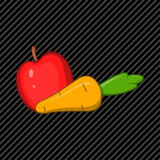 apple, carrot, cartoon, food, fruit, sign, vegetable icon