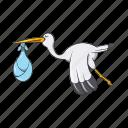 baby, birthday, cartoon, gift, love, sign, stork