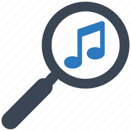 audio, find, magnifying, media, music, search, zoom icon